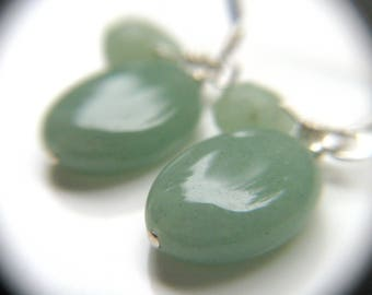 Green Aventurine Earrings . Crystals for Wealth Stone Earrings . Green Gemstone Dangle Earrings Sterling Silver - Oz Collection NEW