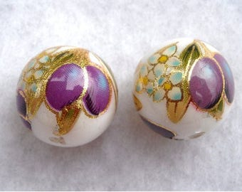 NEW Pair Japanese TENSHA Beads 12mm round, Purple Plums and Gold on White.