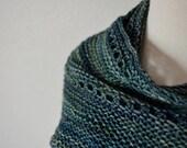 Squid Scarf - Hand Knit Soft Wool Scarf - Original Design in Hand Dyed Superwash Merino Wool Aqua Blue-Green, Boho, Traditional, Long Scarf