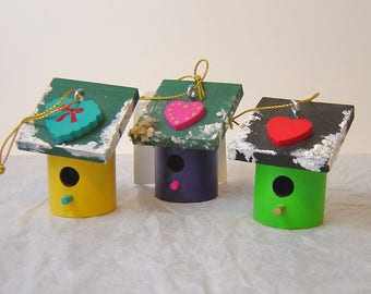 Ornaments  SET of 3  Hummingbird Houses hand painted