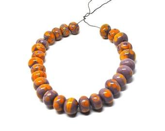 27 orange/violet lampwork beads