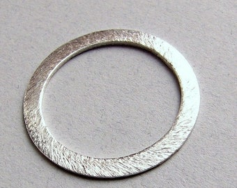 SHOP SALE 20mm Flat Circle Shaped Bali Bright Sterling Silver Brushed Line Texture Loop Connector Eternity Rings Links (2 beads)