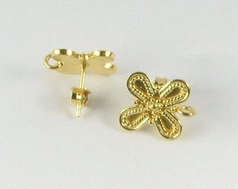 SHOP SALE Bali Gold Vermeil over Sterling Silver Butterfly Shape Post Earrings with Loop for Bead Dangles, Jewelry Supplies, Earring Finding