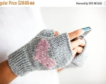 20% WINTER SALE Fingerless Gloves with Heart -  Mittens - Valentines Day by Afra