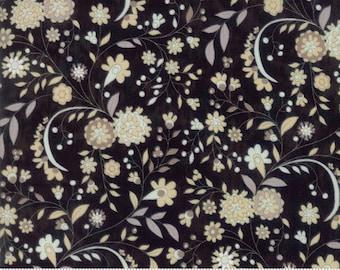 Maven Fabric - Half Yard - Moda Fabric Floral Flowers on Black Quilting Fabric Basicgrey Basic Grey Gray 30463 22