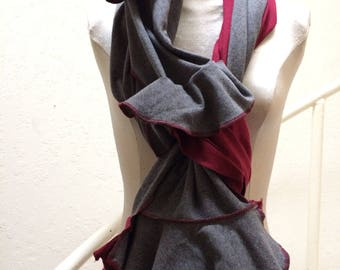 Extra Long Multicolored Upcycled Scarf