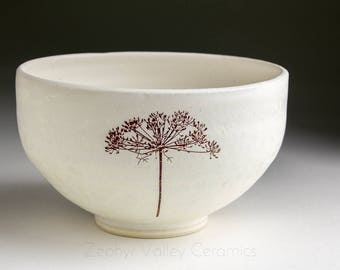Stoneware Bowl - Salad Bowl - Pasta Bowl - Pottery Bowl - Cereal Bowl - Soup Bowl - Botanical Bowl - Dill Herb Plant