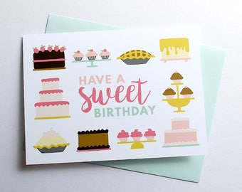 Have a Sweet Birthday Greeting Card illustration stationery