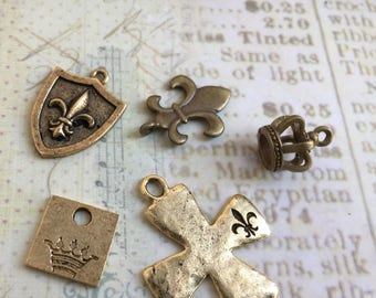 Assortment of French Inspired Charms Set of 5, Made in USA, Fleur de lis, Regal Fleur de lis charms