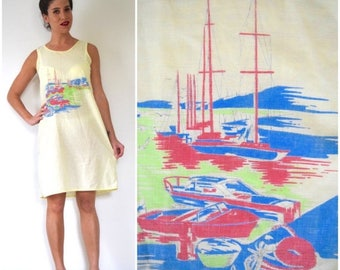 SALE SECTION / 50% off Vintage 70s 80s Fisherman's Wharf Butter Yellow Cotton Voile Graphic Screen Printed Dress