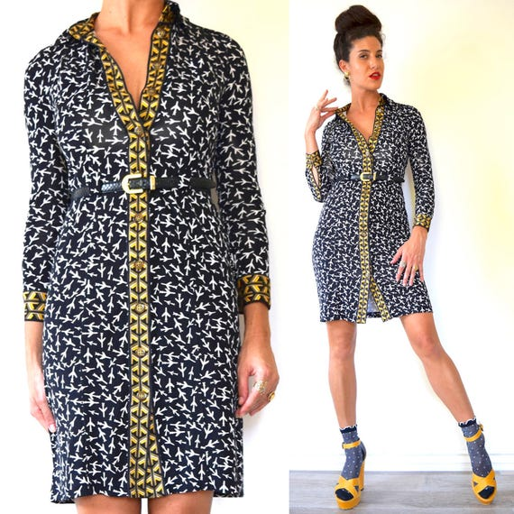 Vintage 90s Diane von Furstenberg Black and White Airplane Print Silk Jersey Mini Dress (size xs, small)
