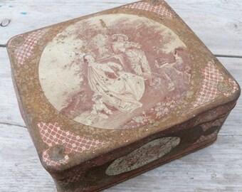 ON SALE Vintage Antique 1900 old French tin box / Coffret des Familles