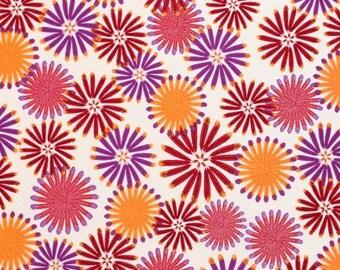 HALF YARD - Zandra Rhodes Fabric, Feathered, Kaleidoscope, Berry, Floral, cotton quilting fabric