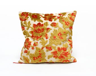 Floral Pillow Case, Red Velvet Pillow 16x16, Vintage fabric cushion cover, velvet throw pillow, luxury decorative couch pillow by EllaOsix