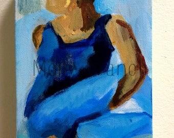 Twist- Original Painting of Yoga Pose, Ardha Matsyendrasana
