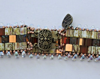 Brown and Brass and Copper TIla Beaded Bracelet