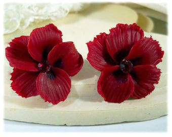 Red Hibiscus Earrings Stud or Clip On - Hibiscus Jewelry