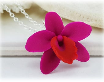Pink Orchid Necklace - Pink Orchid Pendant Necklace, Pink Orchid Jewelry