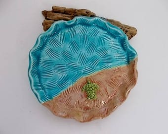 Handmade Turtle to the Sea Ceramic Pottery Dish
