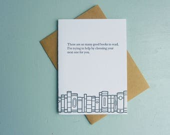Letterpress Greeting Card - Book Gift Card - So Many Books - BKG-543