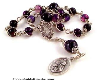 St Ann Anne Rosary Chaplet In Striped Purple Agate Beads Wire Wrapped Unbreakable Rosary