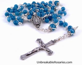 Unbreakable Rosary Beads Virgin Mary Miraculous Medal in Blue Marble w Floral Crucifix by Unbreakable Rosaries