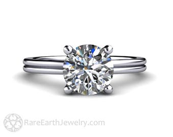 Moissanite Engagement Ring 2ct Moissanite Solitaire Ring Forever One in 14K or 18K Gold or Platinum