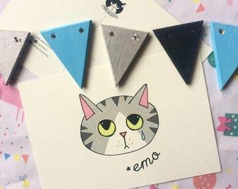 Cartolina Sad Kittens Emo - stampa alta qualità su carta avorio da 200 gr - gatto tigrato arancione rosso - illustrazione
