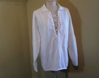 80s Pirate corset tie top White poet top Fredericks of Hollywood 80s White Plunge tie front Blouse Vintage Cotton shirt Blouse M L