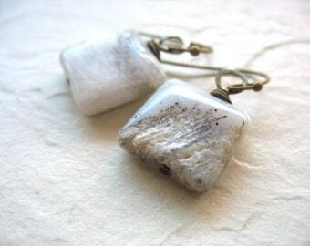 Fossil Earrings, Fossilized Coral Stone Dangle Drop Earrings, Handmade Artisan Stone Fossilized Coral Earrings