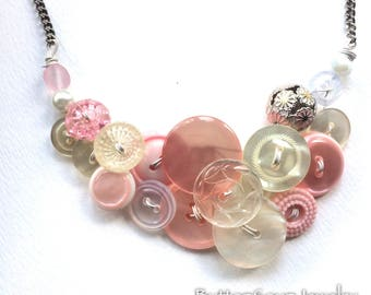 OOAK Fancy Pale Pink and Pearl Vintage Button Wedding Necklace