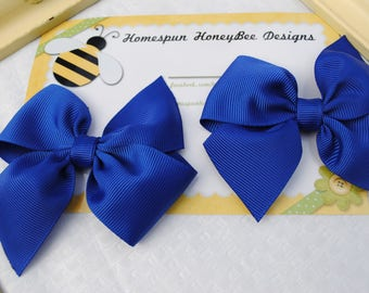 Cobalt Blue Bows - Set of Two Hair Bows - Patriotic Bow Set - 3 Inch Hair Clip - Toddler Pigtail Bows - Matching Hairbows - 4th of July BBQ