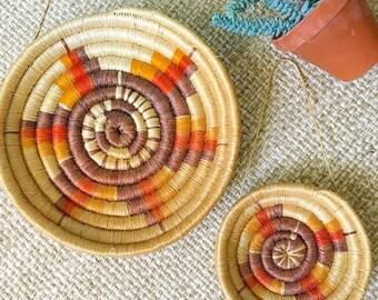 Basket Case... Vintage Pair Handmade Southwestern Native American Nesting Coil Baskets Wall Baskets Bohemian Boho Decor Style