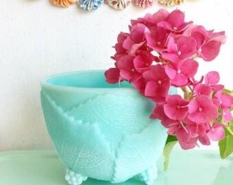 Why So Blue... Vintage Fostoria Grape Leaf Turquoise Blue Milk Glass Milkglass Candy Dish Storage