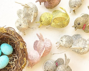 Birds Of A Feather... Vintage Mica Glitter Paper Mache Putz Birds Christmas Tree Ornaments Holiday Decor Japan Instant Collection