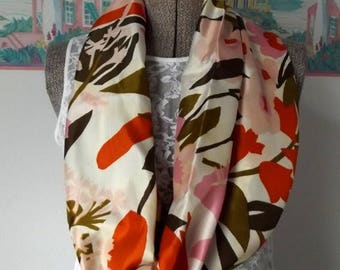 ON SALE Fabric Infinity Scarf, Silky Fabric, Cream, Orange, Bronze, Pink, Brown, Floral Print,  Shorter Length, Woven