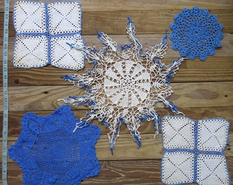 Antique, Vintage Crochet Doily Lot...Blue & White Handmade Lace Doilies, early to mid 1900s...Destash Collection, Crafting,Home Decor DL1703