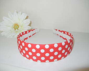 Fabric Headband with Red White Polka Dot