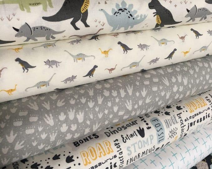 Dinosaur Fabric, Dinosaur Decor, Boy Nursery Ideas, Dino Party, Dinosaur by Riley Blake, Fabric Bundle of 6- Choose the Cut