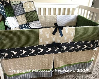 Custom Rustic Woodland Deer Arrow Plaid Navy Beige & Green Complete 4 Piece Boutique Crib Nursery Bedding Set MADE To ORDER
