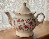 Vintage Rose Pattern China Teapot