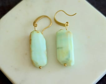 Peruvian Opal Statement Earrings Gold mint seafoam jewelry October birthstone by VitrineDesigns
