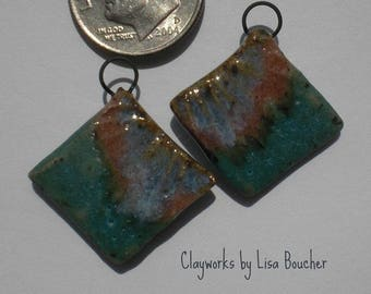 Turquoise, Rose and Blue Stoneware Earring Components