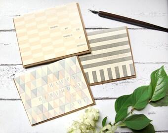 Geometric Letterpress Happy Birthday Card Set of 3