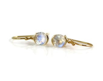 Rainbow Moonstone Earrings - 14k Gold - Moonstone Earrings - Set Gems