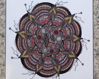 Mandala 4 - ACEO Print Of OOAK Original Colored Ink Drawing - Mandalas - Illustration- ATC - Artist Trading Card