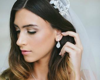 Teardrop Wedding Stud Earrings | Vintage Crystal Earrings for Brides | Small Silver, Pearl & Crystal Wedding Jewelry | Bridal Earrings