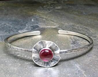 sterling silver cuff  bracelet skinny flower poppy nature jewelry ruby red metalsmith artisan - Poppy Fields Cuff