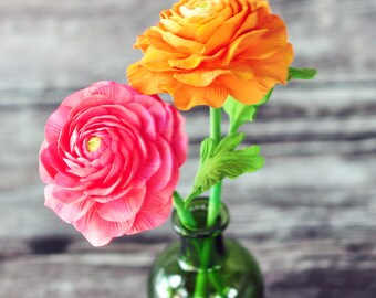 Handcrafted Clay Ranunculus - Set of 2 in orange and Coral Pink