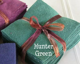 Solid HUNTER GREEN, FLANNEL Fabric Squares,  Rag Quilt, Traditional Quilting, pick size & quantity, We Cut You Sew